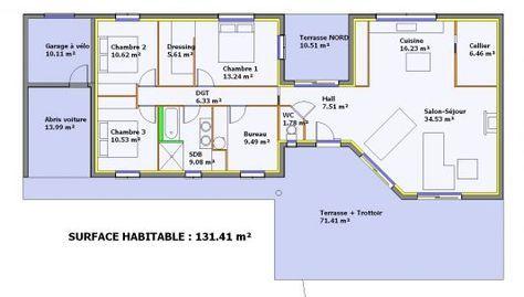 Plan maison en longueur Villas Pinterest Villas - Plan Maison En Longueur