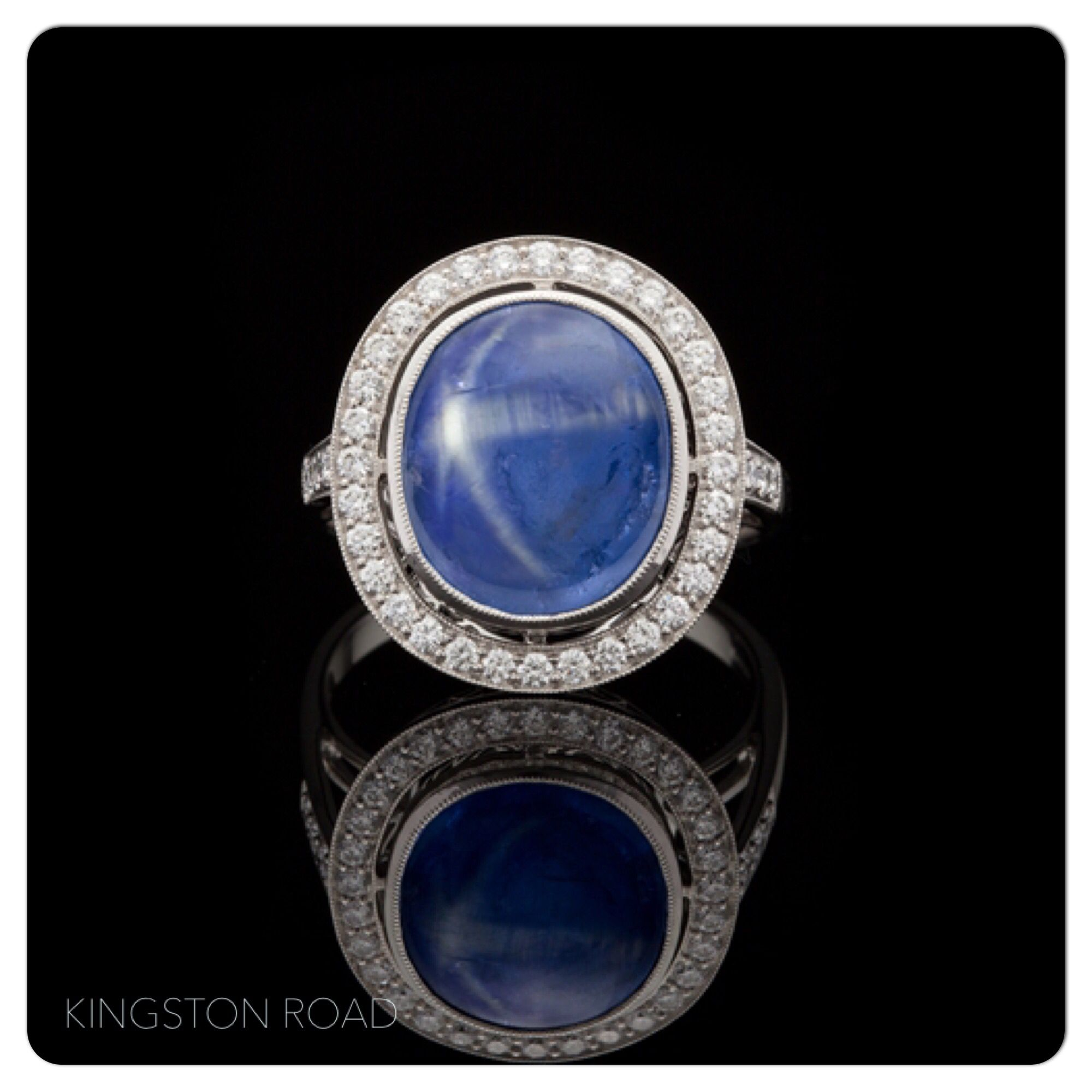 shaped in oval setting of ring star sapphire sterling blue bezel with silver inspirational