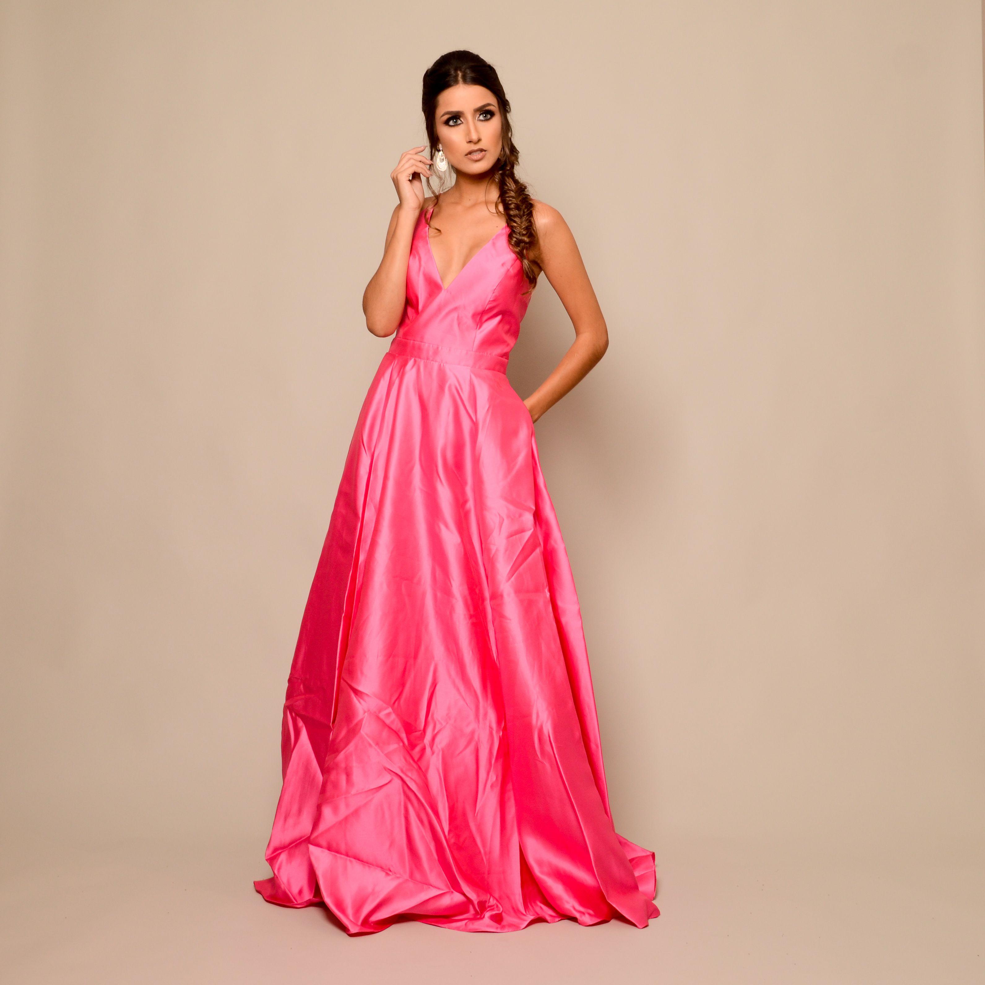 Vestido De Festa Rosa Jovani Disponivel Para Aluguel Em Belo