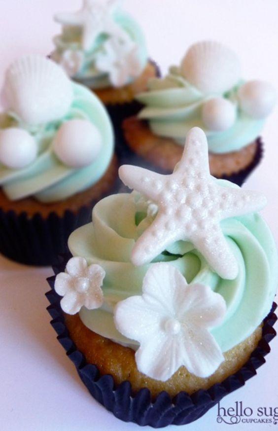 199 Beach Themed Wedding Cupcakes