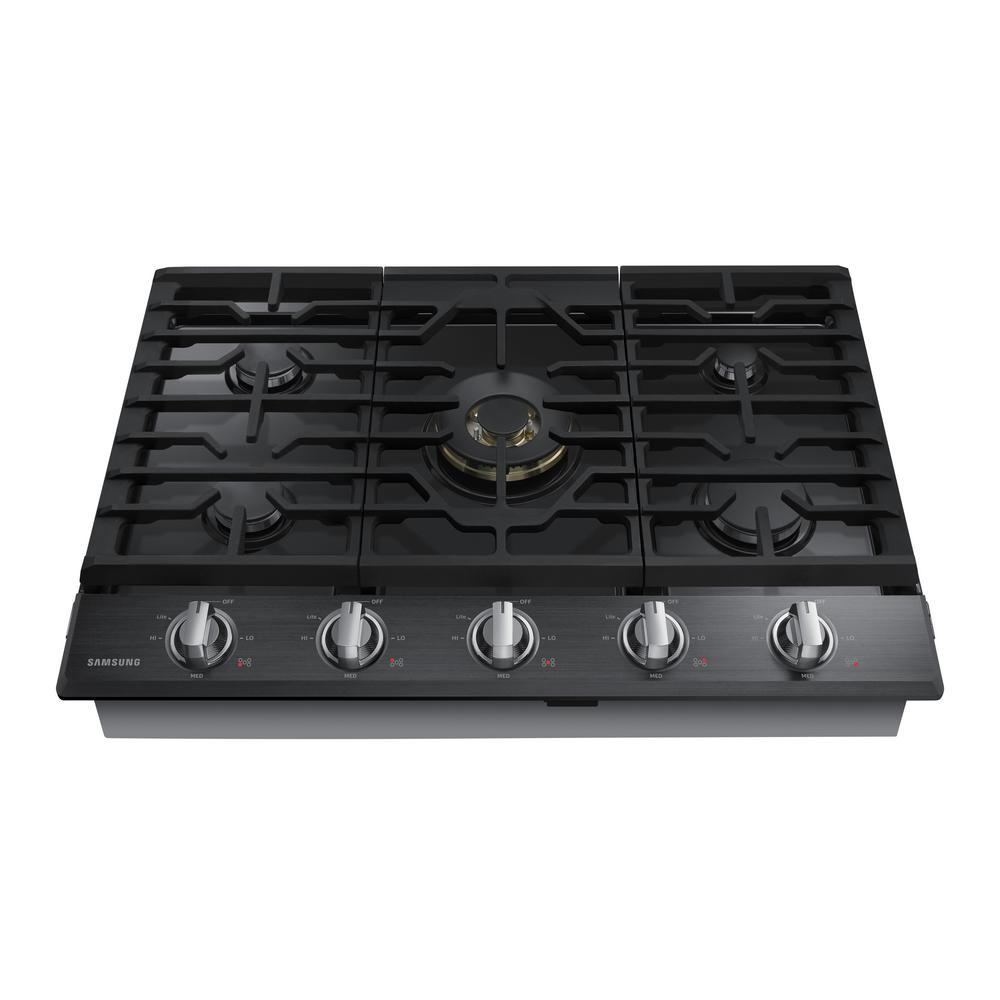 Samsung 30 In Gas Cooktop In Fingerprint Resistant Black Stainless With 5 Burners Including Dual Brass Power Burner With Na30n7 Gas Cooktop Cooktop Gas Cooker