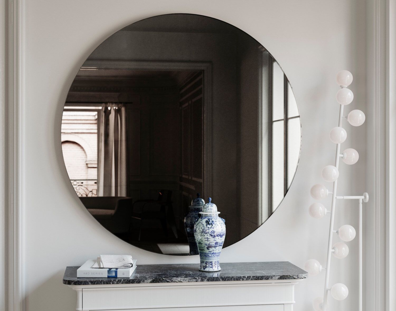 Black wall mirror round midcentury inspired handmade for Glass mirrors for walls