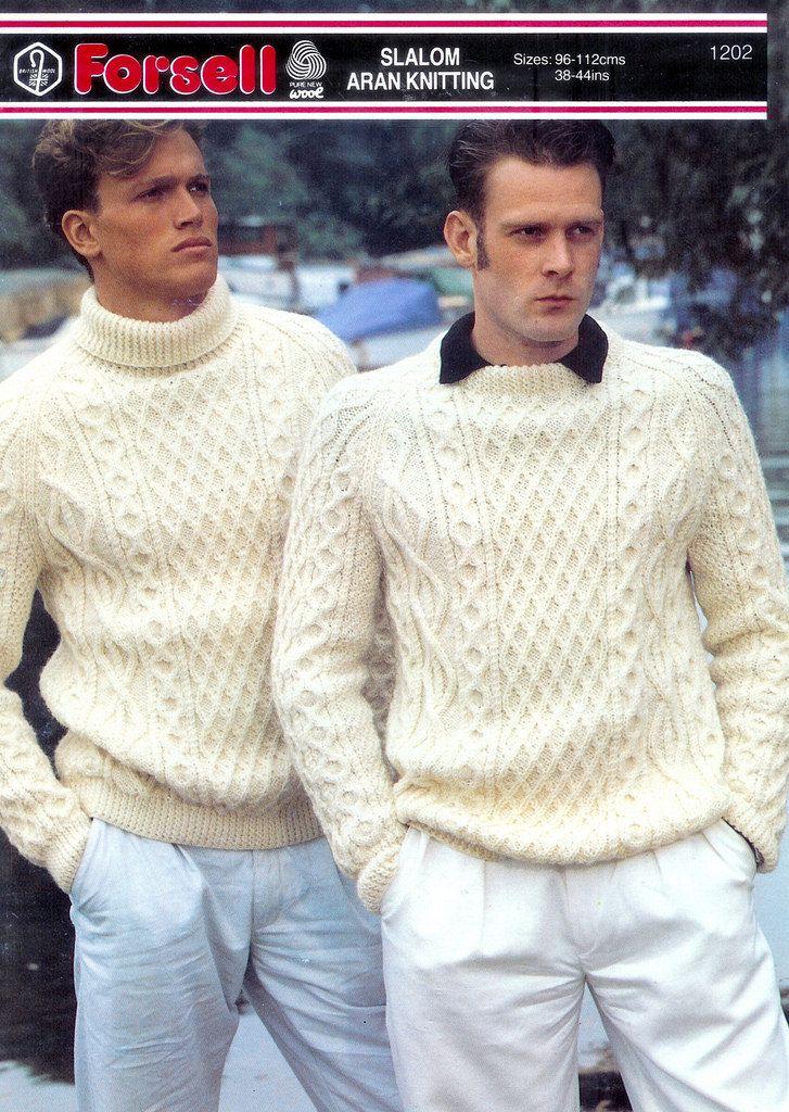 Mens aran wool fashion knitwear | Suéteres
