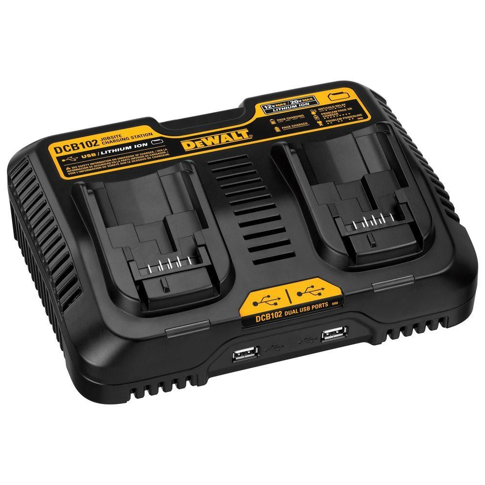 Dewalt 12 Volt To 20 Volt Max Lithium Ion Dual Port Jobsite Fast Charging Station With 2 Usb Ports Dcb102 Power Tool Batteries Charging Station Dewalt