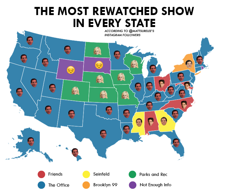 The Most Rewatched Show In Every State Data Interestingdata Beautifuldata Visualdata In 2020 States Parks N Rec Visual Representation