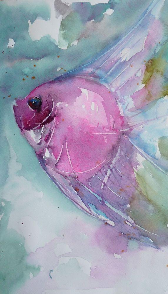 Le Poisson Rose Arte De Peces Animales Acuarela Pintura Acuarela