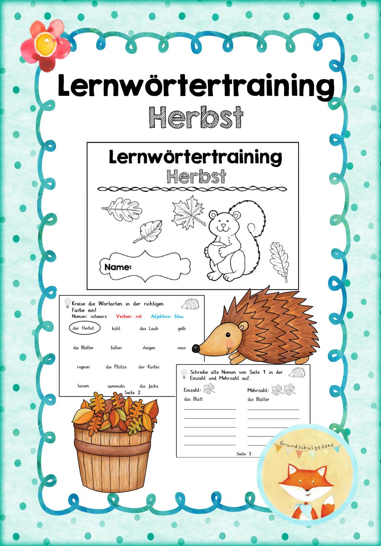 Lernwortertraining Herbstworter Unterrichtsmaterial Im Fach Deutsch Lernen Wortarten Satze Bilden