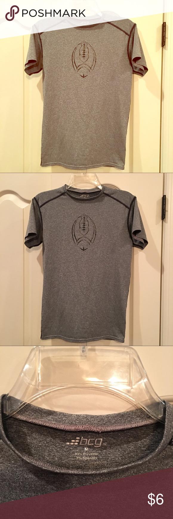 bcg boys gray FOOTBALL DRI-FIT shirt size M •bcg dri-fit football shirt, size Medium •excellent used condition •from a pet free/smoke free home BCG Shirts & Tops Tees - Short Sleeve