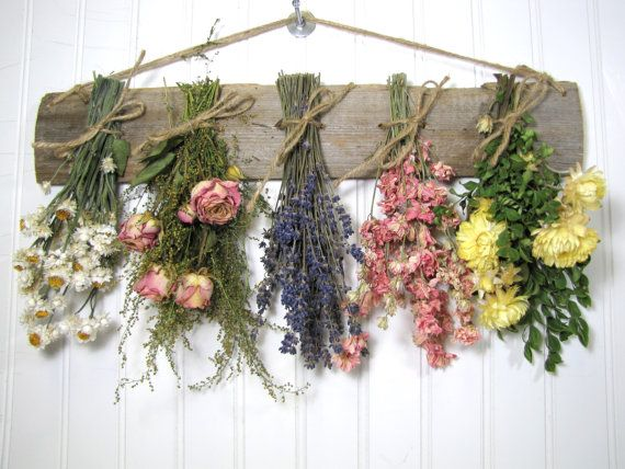 Dried Flower Rack Fl Arrangement Wall Decor Flowers Country Rustic Primitive On Etsy 27 00