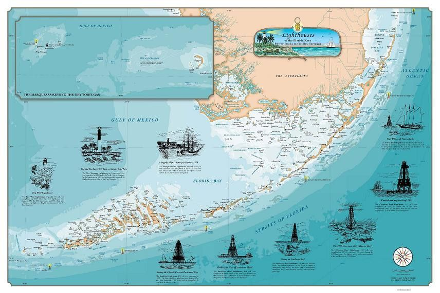 Florida Keys Shipwrecks Map Lighthouses of the Florida Keys: Fowey Rocks to the Dry Tortugas
