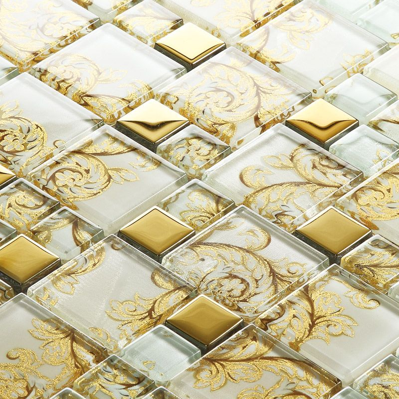 white crystal glass mosaic tile gold stainless steel tile kitchen ...
