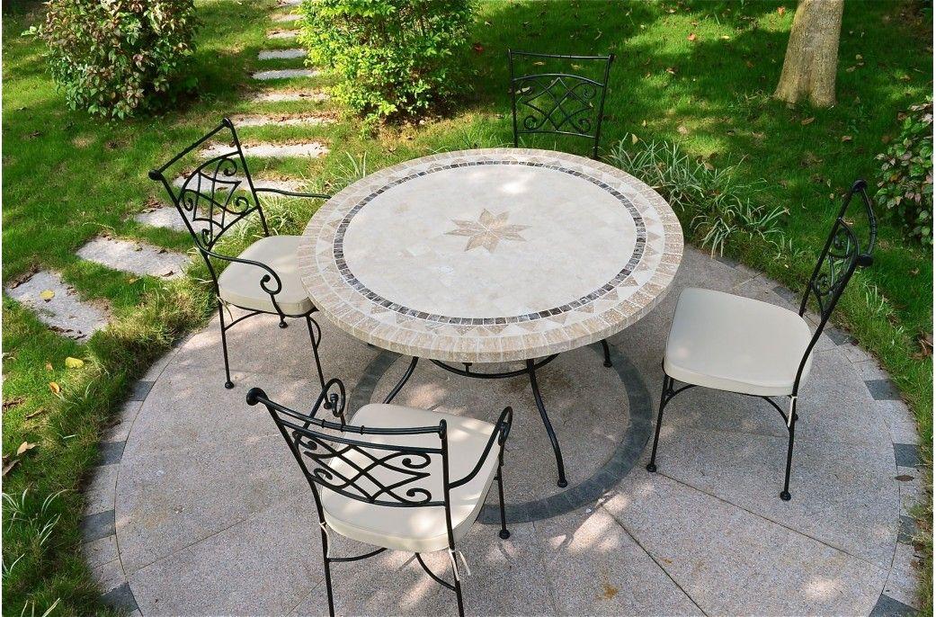 Table de jardin mosaïque pierre ronde mosaïque marbre 125 ...