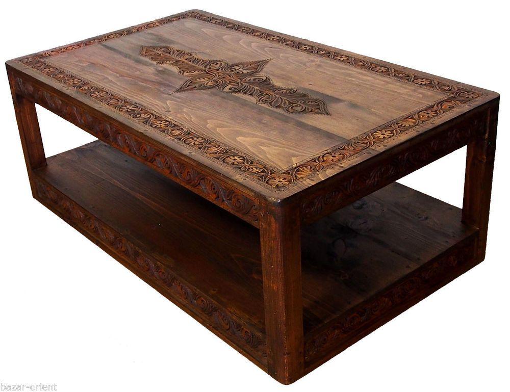 120x70 cm antik-look massivholz orient Teetisch Tisch Couchtisch beisteltisch XL