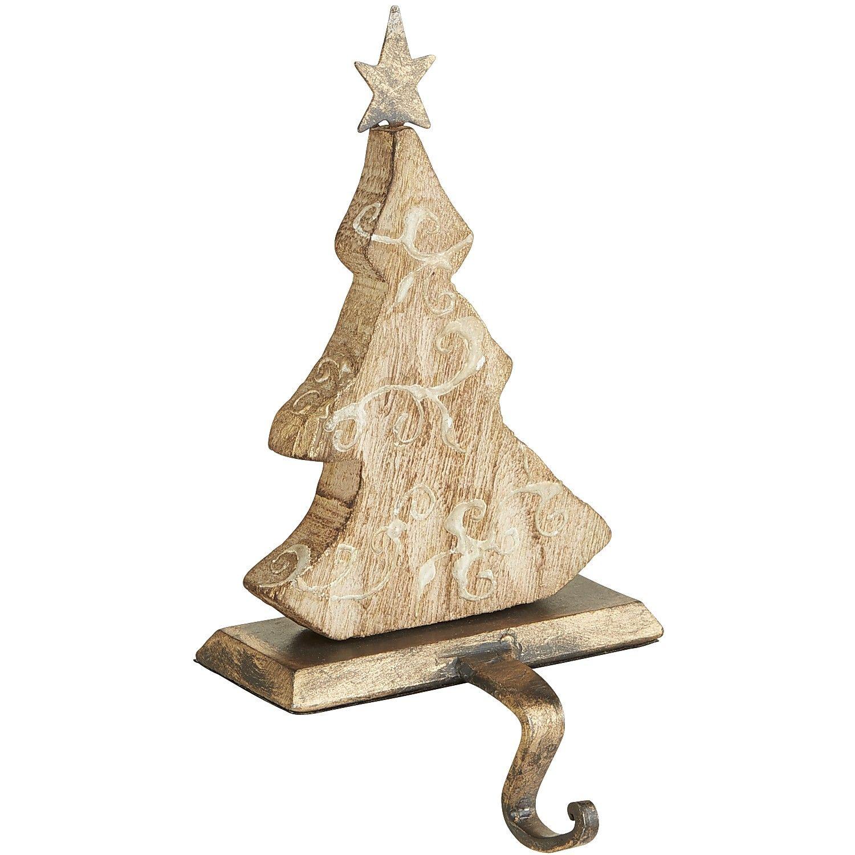 Christmas Stocking Holder Tree Stand: Christmas Tree Carved Wood Stocking Holder