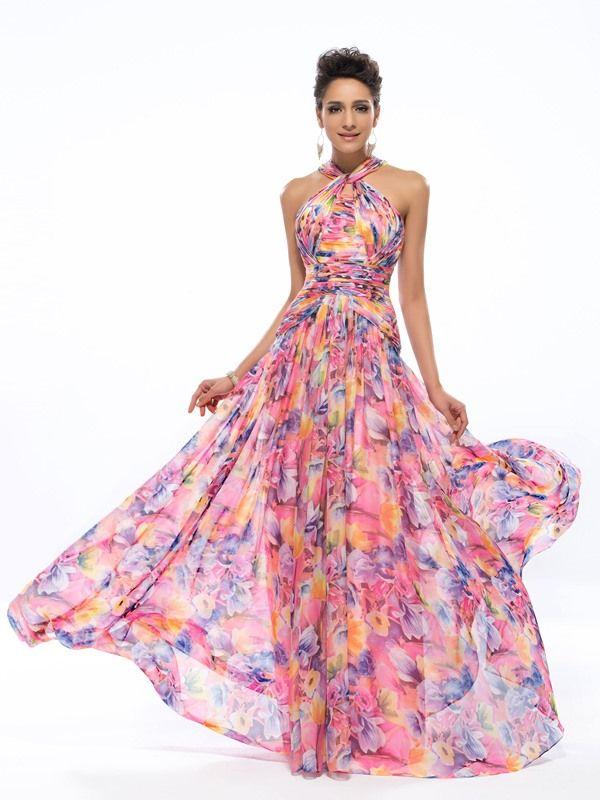 Élégant a-ligne Halter motif imprimé robe de soirée
