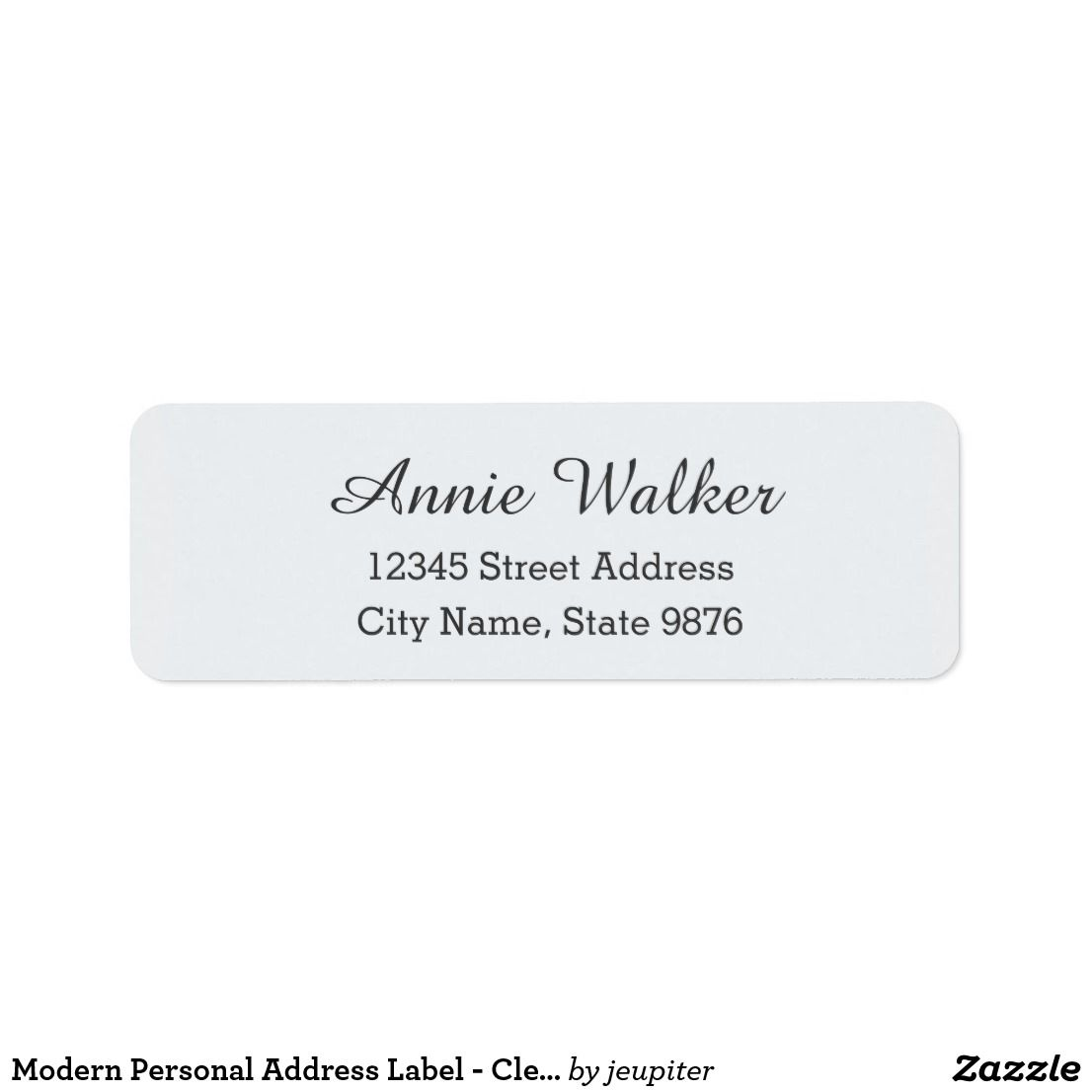 modern personal address label clear snow white