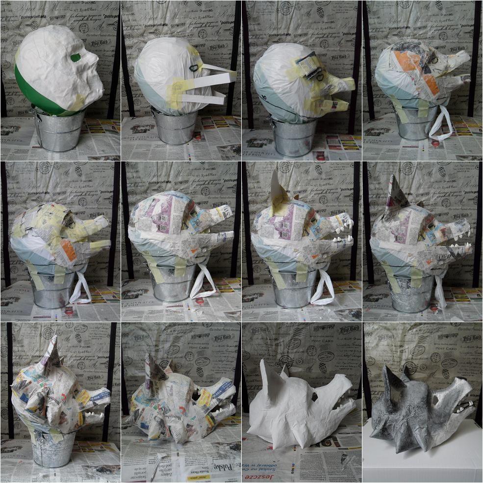 Diy Wolf Mask Paper Mache Mask Paper Mache Animals Wolf Mask