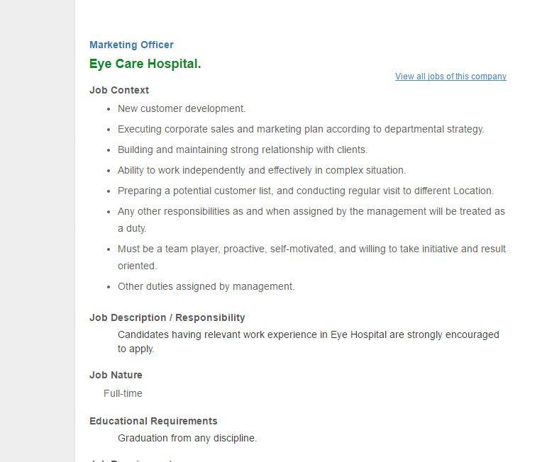Eye Care Hospital Marketing Officer Job Circular January 2017