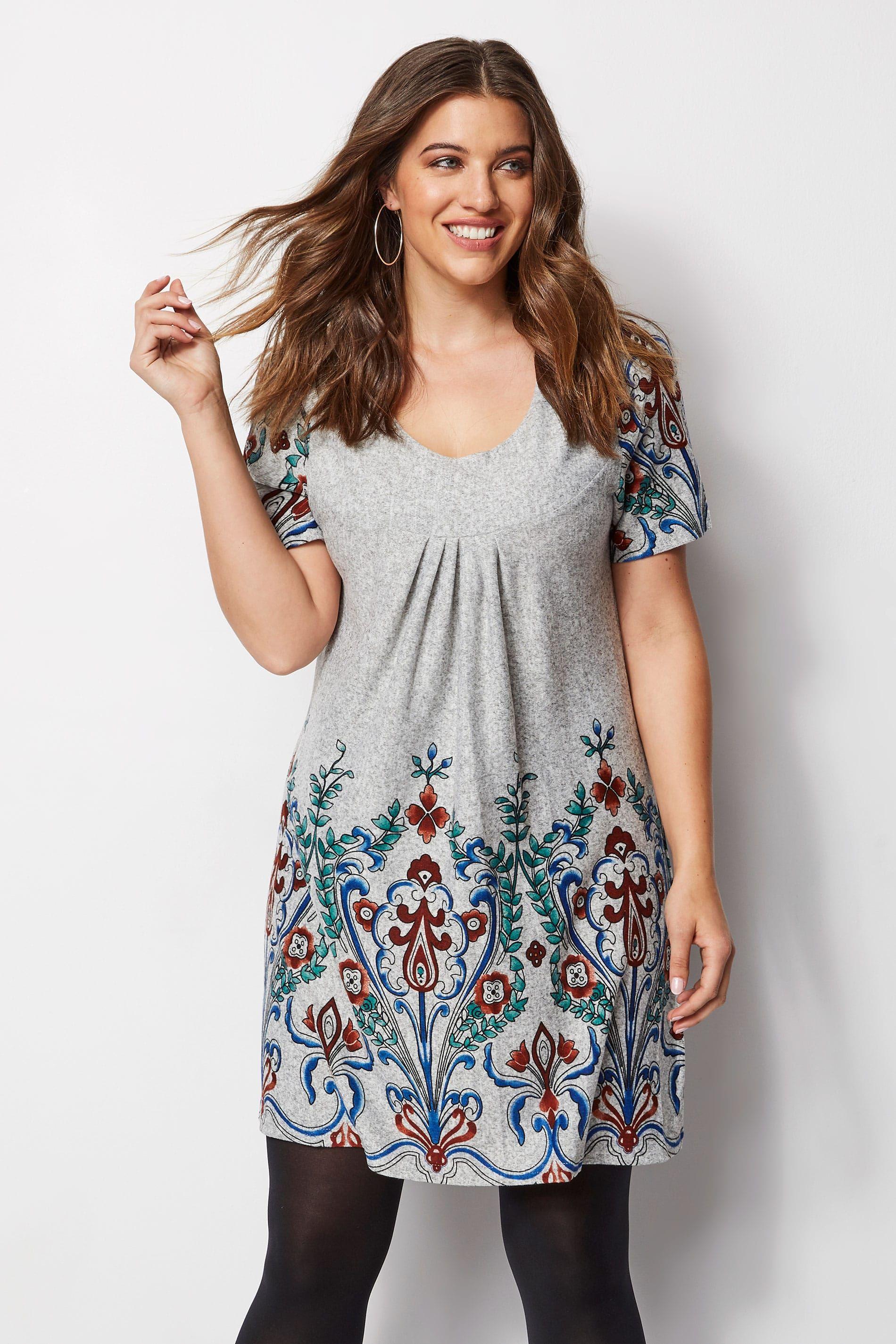 Izabel Curve Grey Paisley Tunic Dress Plus Size 16 To 26 Mini Dress Casual Casual Dresses For Women Maxi Dresses Casual [ 2850 x 1900 Pixel ]