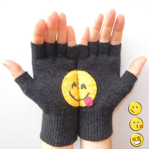 Fingerless Gloves Funny Gift Gray Gloves smiley by DarlingGloves