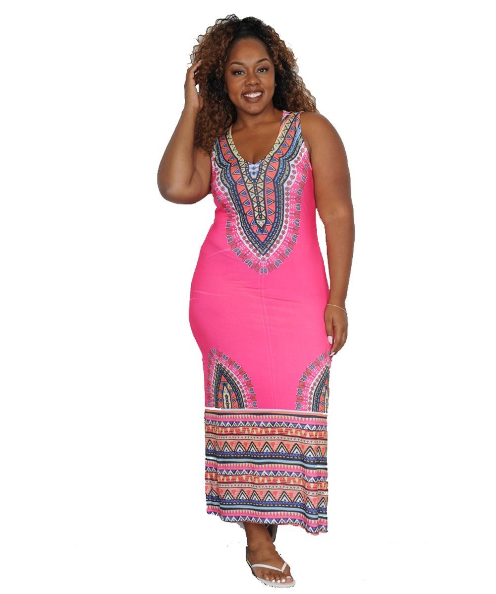 Pink Beyond Maxi Dress $36.99  #plussize #plussizefashion #plussizeclothing #spring #spring2017 #pink #maxi #maxidress #dress #plussizedress #print #sale  Brightly colored exotic print maxi dress has a sleeveless bodice with scoop neckline, fitted waist, and long slit skirt. Spandex lends extra stretch.