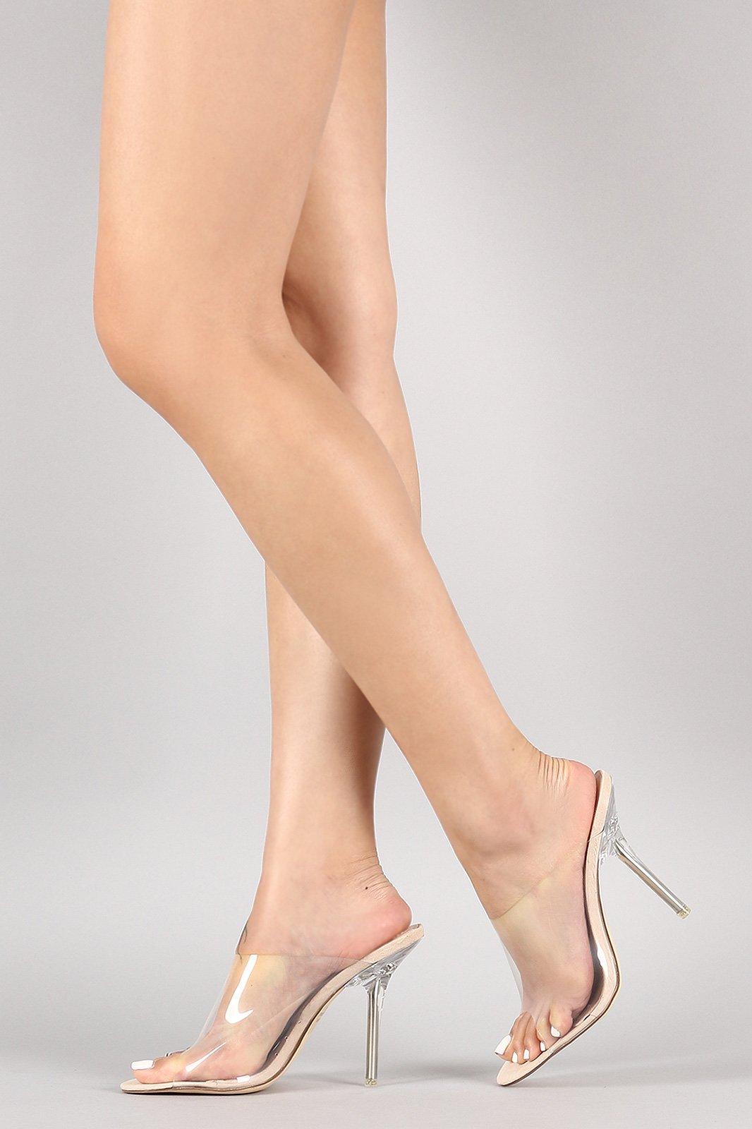 1fa2c07da Transparent Open Toe Stiletto Mule Heel | Outfits in 2019 | Heels ...
