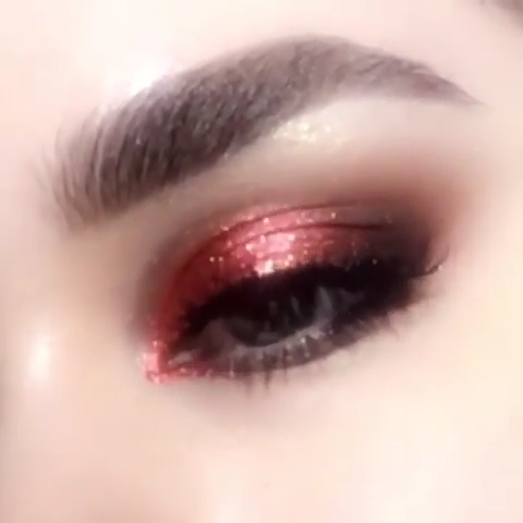 Red Glitter Eye Makeup Ideas Tutorial