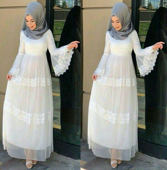 Genc Tesettur Beyaz Elbise Modelleri Photo Pinterest Turkey Cimbomlu Kiz Islami Giyim Elbise Elbise Modelleri
