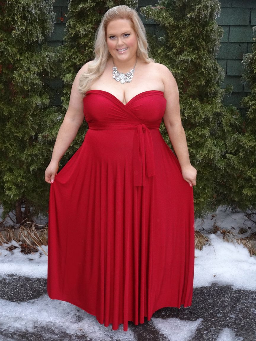 Plus Size Henkaa Convertible Dress Sweetheart Strapless Style In Ruby Red