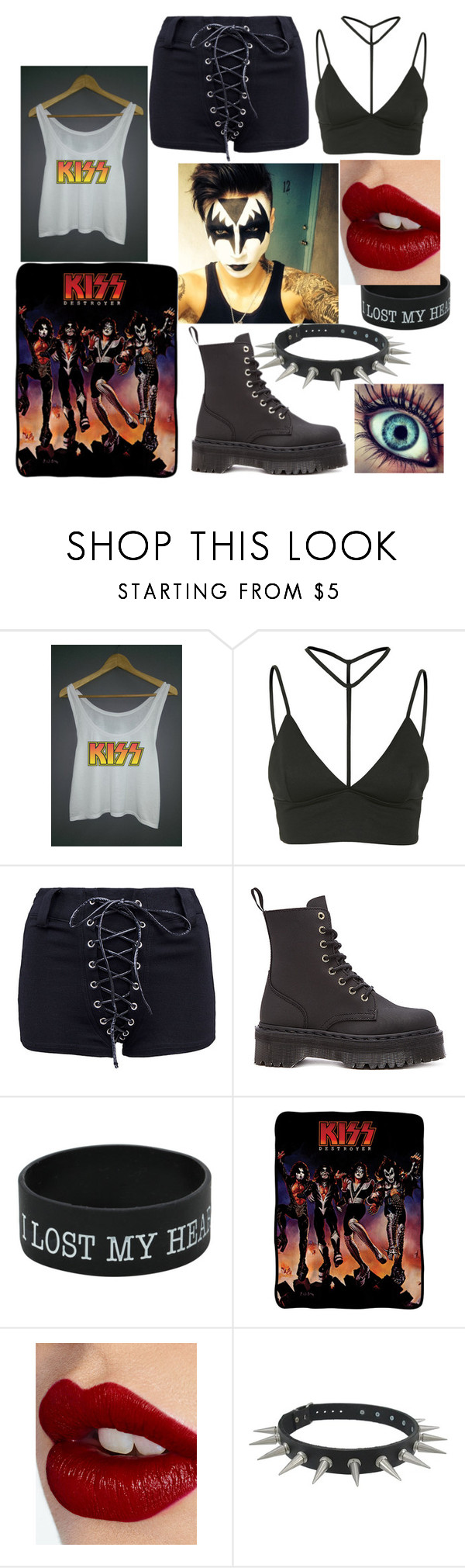 """Kiss :*"" by mayday100parade ❤ liked on Polyvore featuring Oh My Love, Dr. Martens, Kiss, Charlotte Tilbury, women's clothing, women's fashion, women, female, woman and misses"