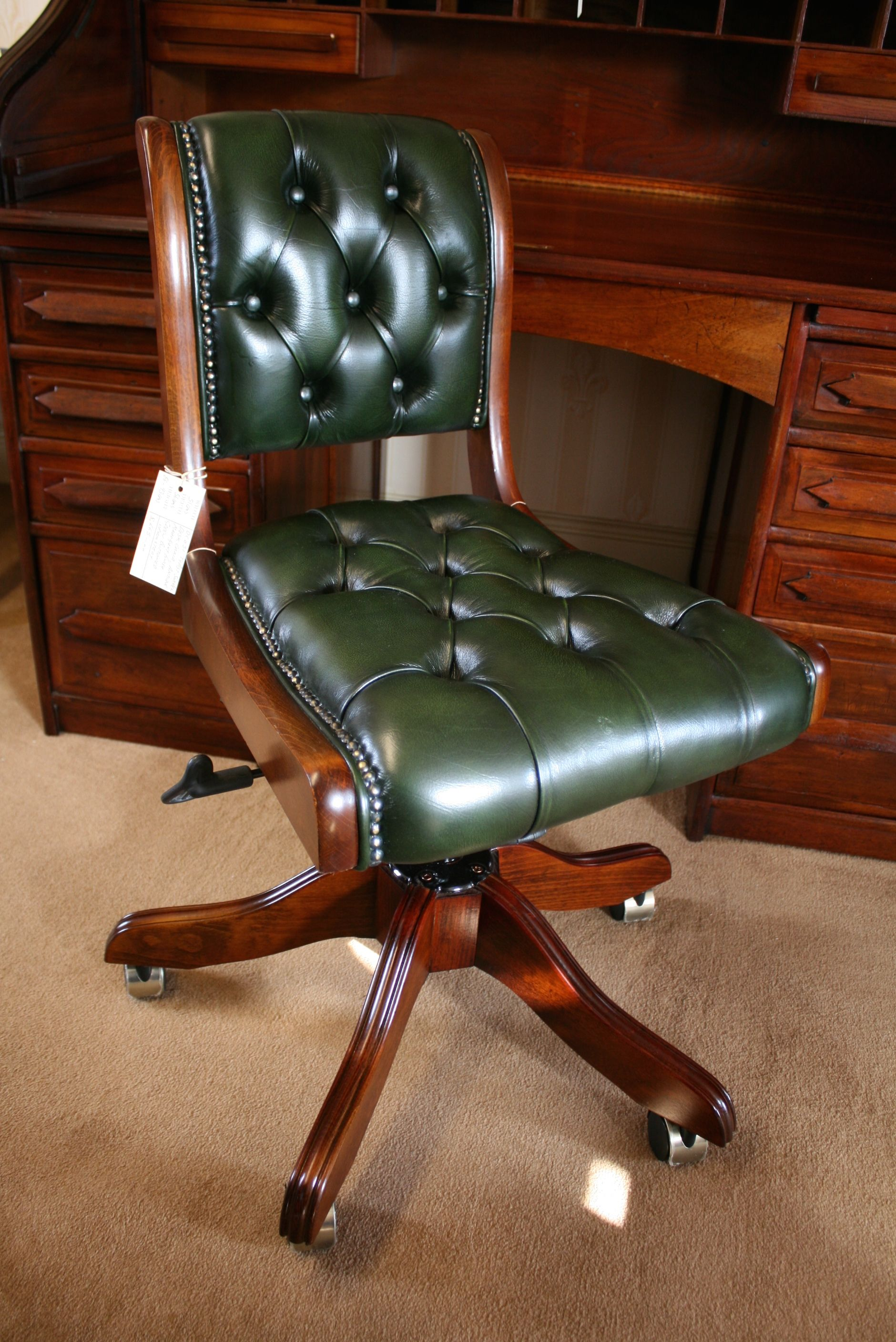 Typist Swivel Desk Chair Bottle Green Leather Buttoned