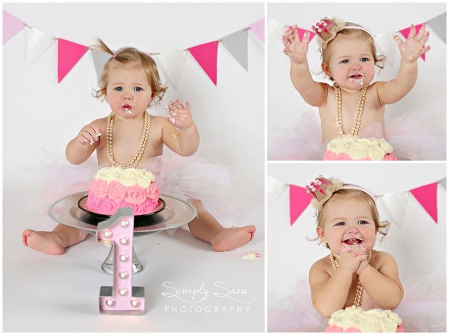 One Year Old Girl Photo Ideas & Poses - Cake Smash - Pink, Gray ...
