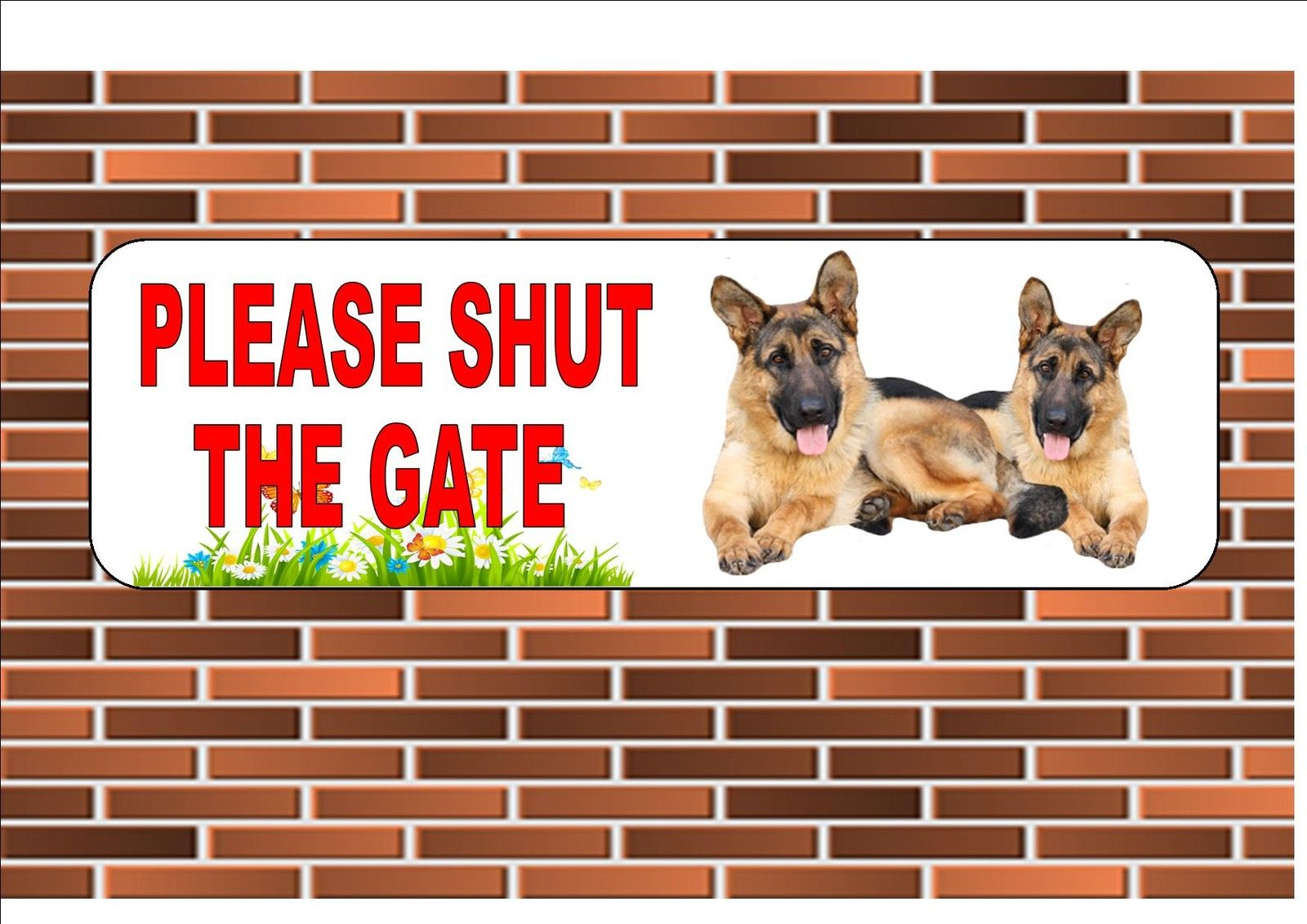 German Shepherd Shut The Gate Beware of the Dog  Gate Sign