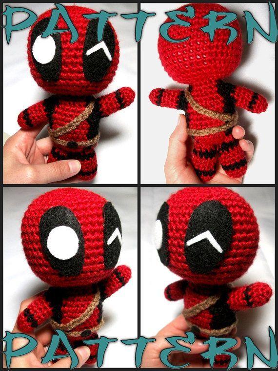 Deadpool big crochet doll 10 inch Amigurumi superhero toy | Etsy | 760x570