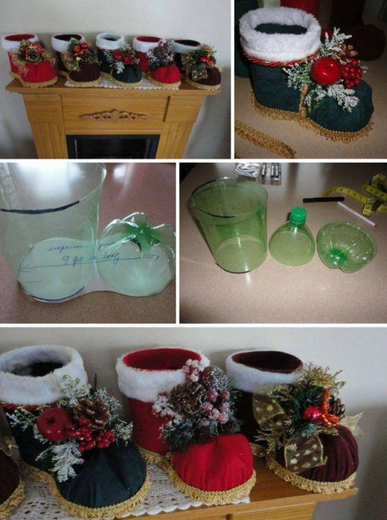 Consigue hermosas decoraciones de navidad usando simples botellas de pl stico de cualquier tipo - Decoraciones de navidad manualidades ...