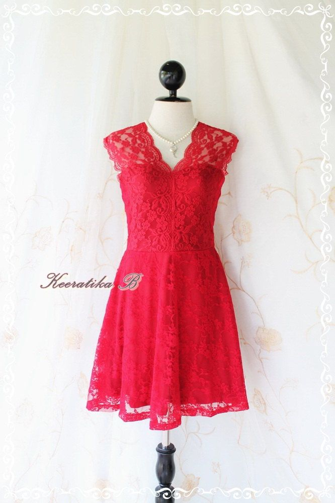 Lady Loves Lacy - Beautiful Lace Dress For Autumn/Winter Warmed Lace Thick Lined True Red Color Party Cocktail Dinner Wedding. $42.80, via Etsy.