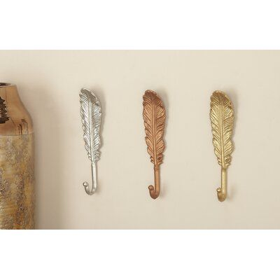 CosmoLiving by Cosmopolitan Feather Wall Hooks | Wayfair