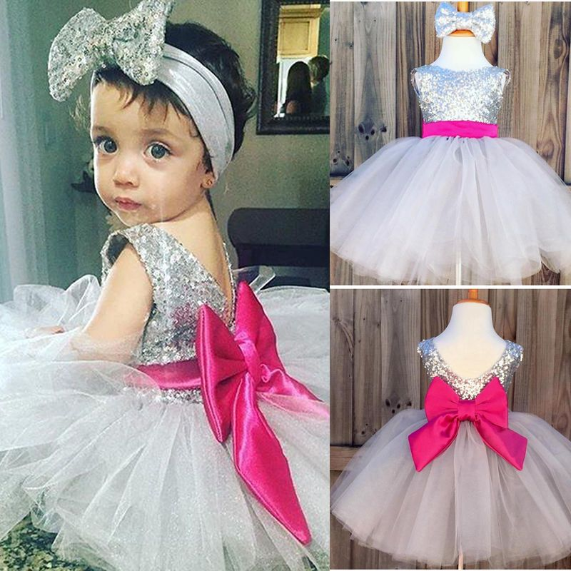 Click To Buy Kids Girls Dress Sequins Ball Gown Headband Tulle Bridesmaid
