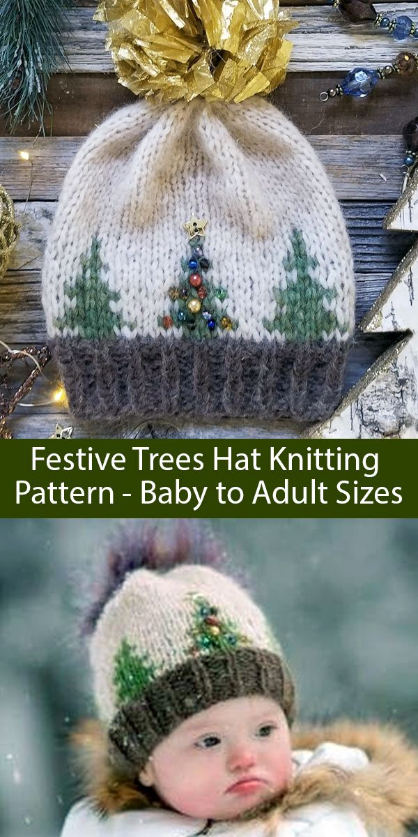 Photo of Knitting Pattern for Festive Trees Christmas Hat Baby to Adult Sizes