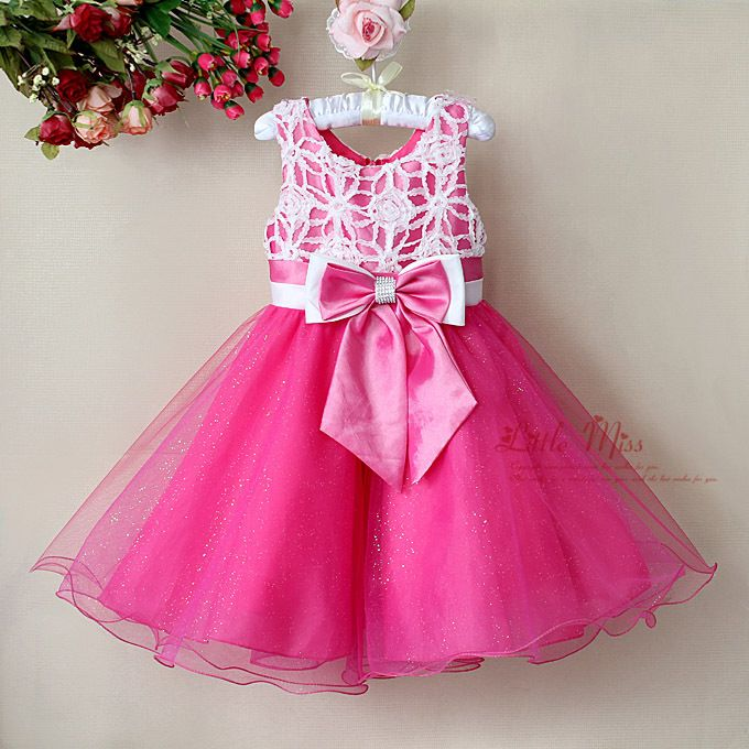 2013 New Year Pink Girl Flower Dress with bowknot infant Girl Formal ...