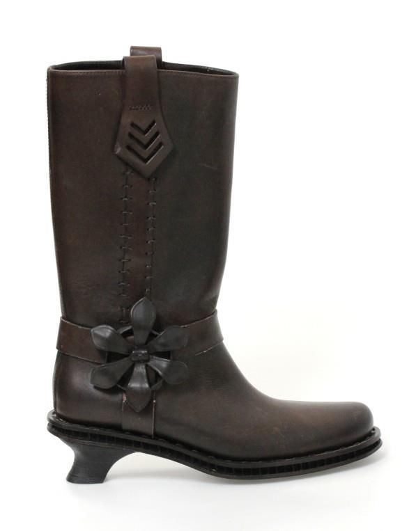 2f6a69a0437 Fendi Dark Brown Leather Flower Harness Kitten Heel Motocycle Boots Sz 35.5  NEW  Fendi  Motorcycle