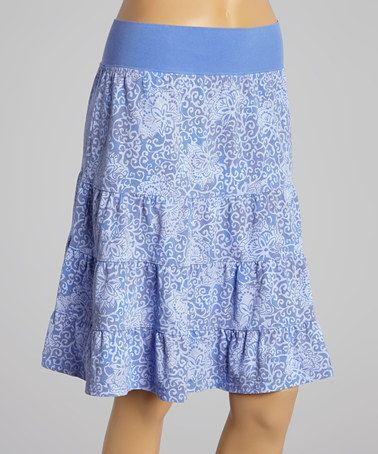 Another great find on #zulily! Peri Blue Batik Flower Tiered Skirt by Fresh Produce #zulilyfinds