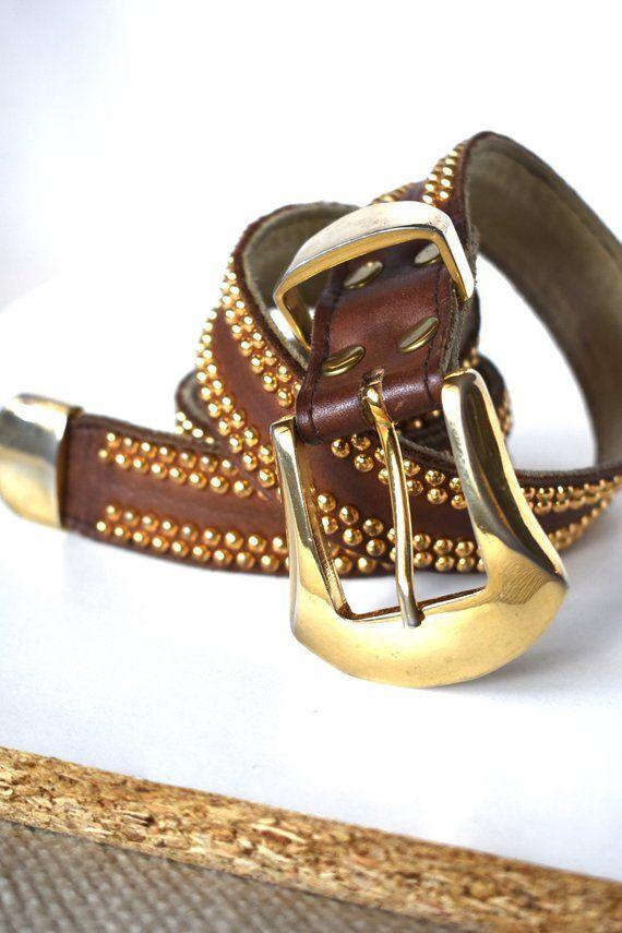 915e90d060ce Vintage 90 s brown and gold-embellished leather belt  High-waist belt  90 s