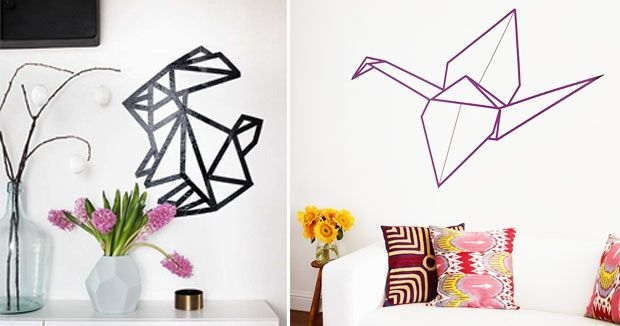 le masking tape en cinq id es cool 1 tapas origami et mur. Black Bedroom Furniture Sets. Home Design Ideas