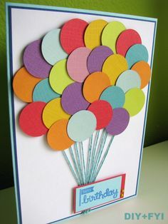 Homemade spring cards google search teacher cards pinterest birthday card balloon card using a circle punch bookmarktalkfo Gallery