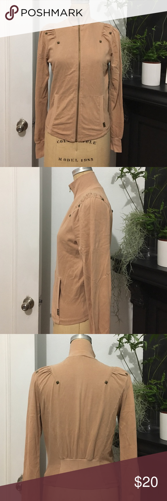 Vintage, Hard to Find, Fornarina Mock Zip Up Preowned, comfy and cute taupe/pink long sleeve jacket. Good zipper with metal hardware on shoulders. Fornarina  Jackets & Coats