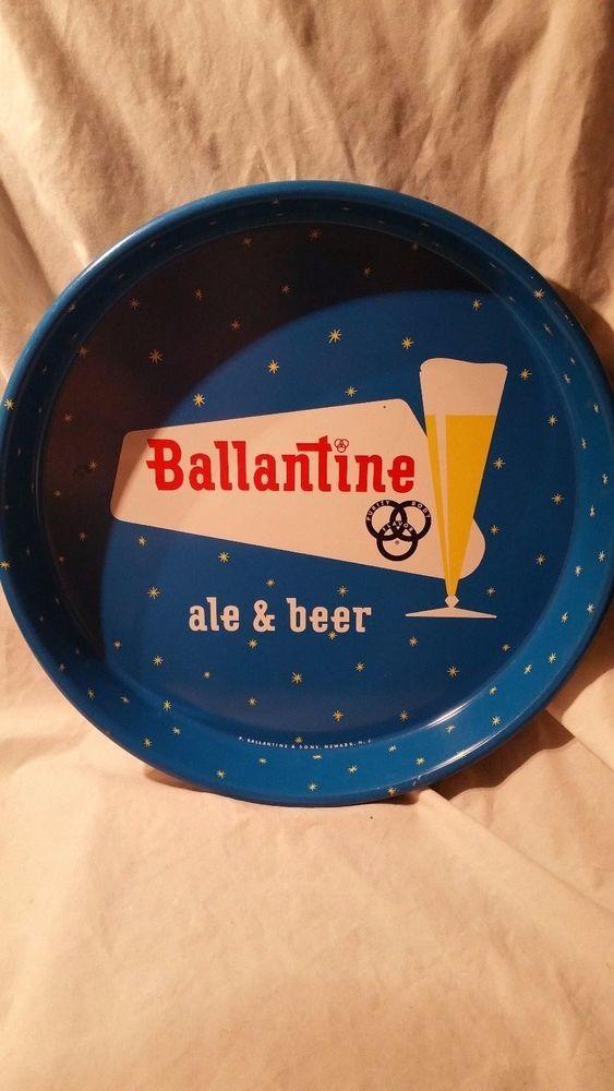 "VINTAGE 12"" BALLANTINE'S ALE & BEER METAL TIN TRAY P BALLENTINE & SONS NEWARK NJ"
