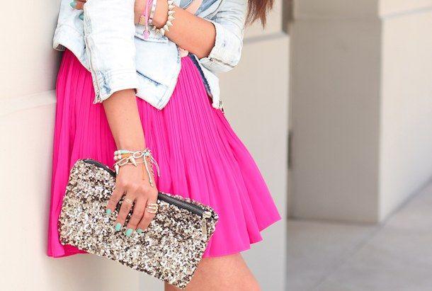 bracelet, brunette, fashion, girl, hand bag, handbag, jeans, nails, neon, outfit, pink, ring, skirt
