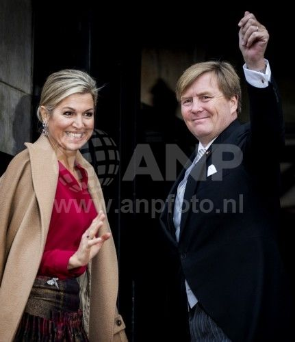 King Willem-Alexander and Queen Maxima arrive at Palace on the Dam (Amsterdam) to the traditional New Years reception for Corps Diplomatique. Jan. 18, 2017