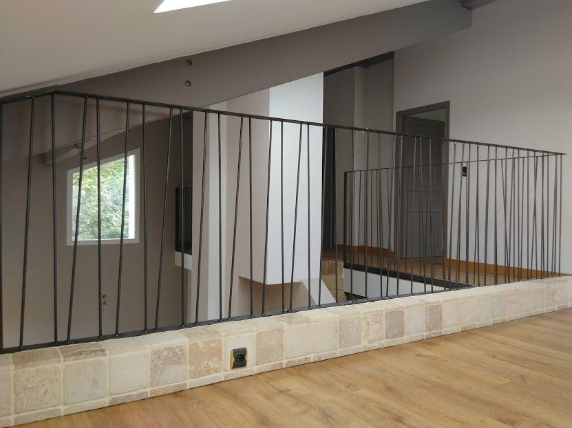Garde corps rambardes d 39 escaliers ballustrades m tal - Escalier contemporain beton ...